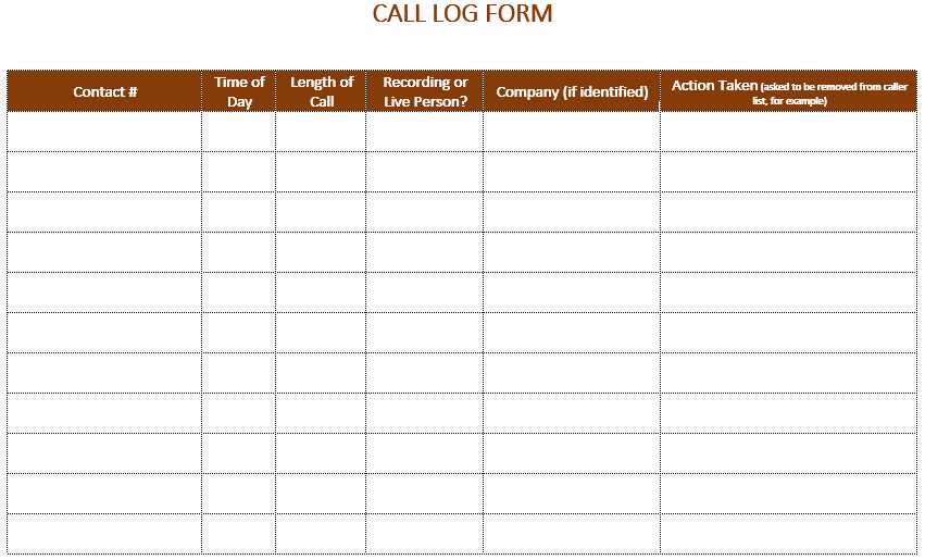 Free Call Log Template Luxury 5 Call Log Templates to Keep Track Your Calls