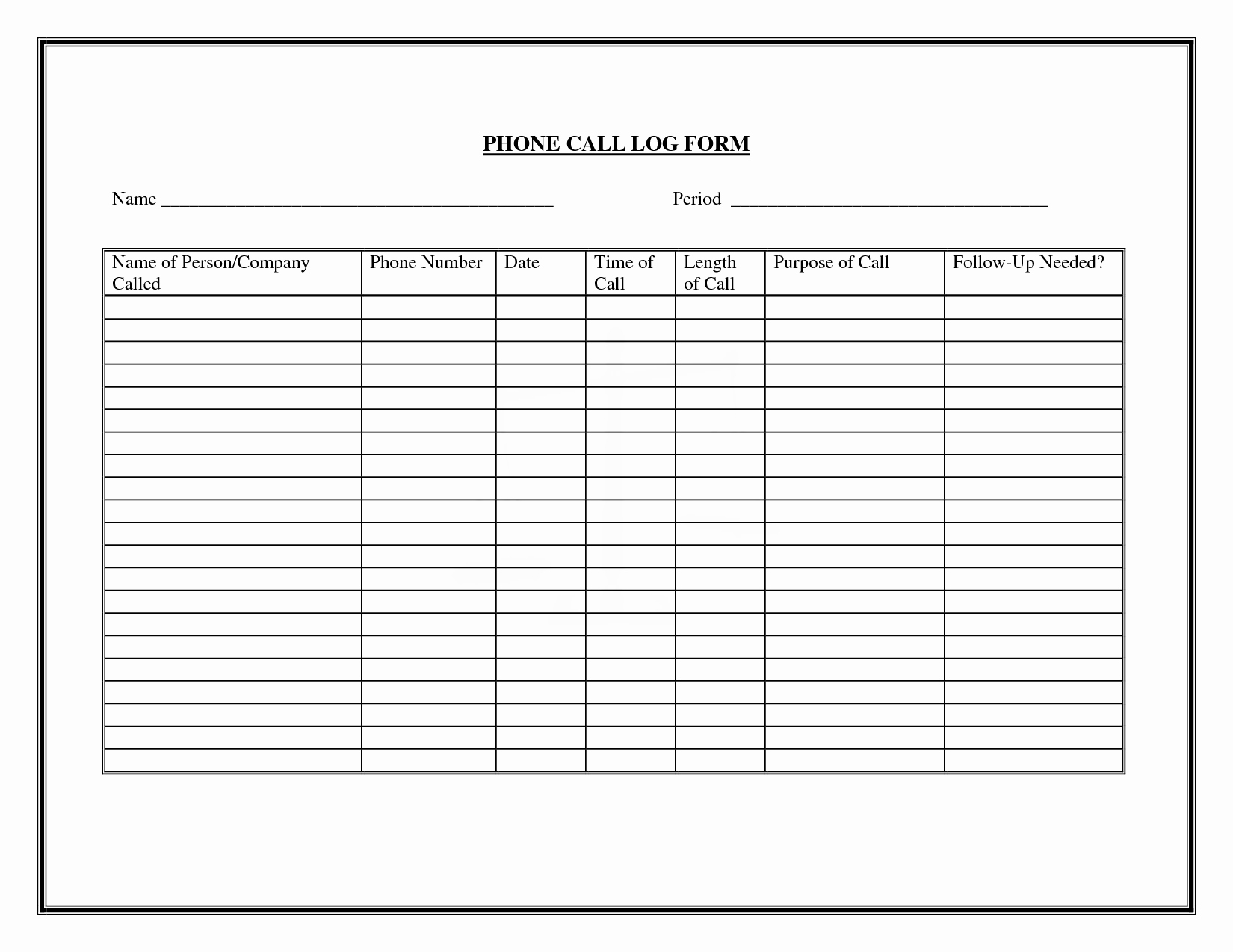 free printable phone log examples