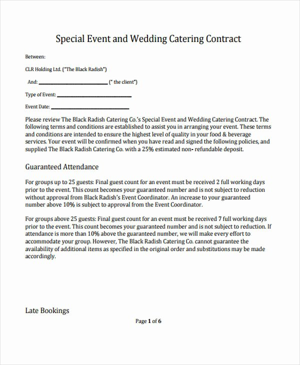 Free Catering Contract Template Awesome 11 Catering Contract Templates Pages Docs