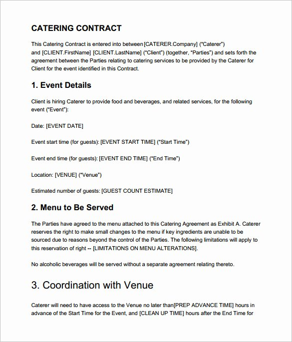Free Catering Contract Template Beautiful 7 Catering Contract Templates – Free Word Pdf Documents