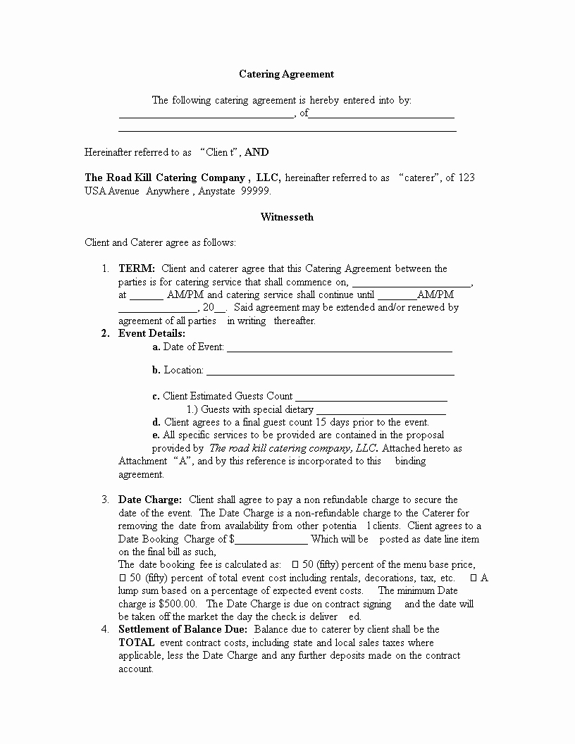 Free Catering Contract Template Best Of Free Catering Contract Template