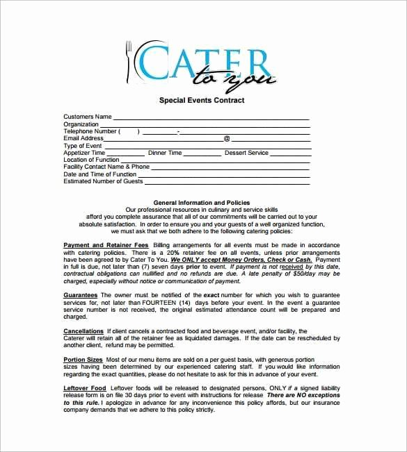 Free Catering Contract Template Elegant Catering Contract Templates Find Word Templates