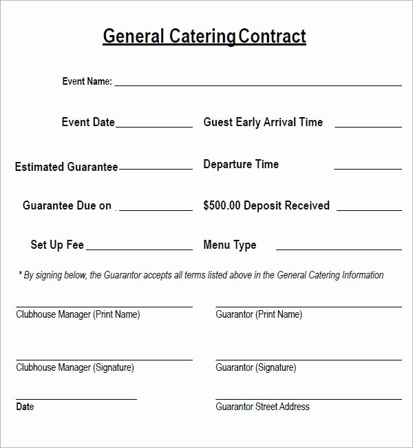 Free Catering Contract Template Fresh Catering Contract 7 Free Pdf Download