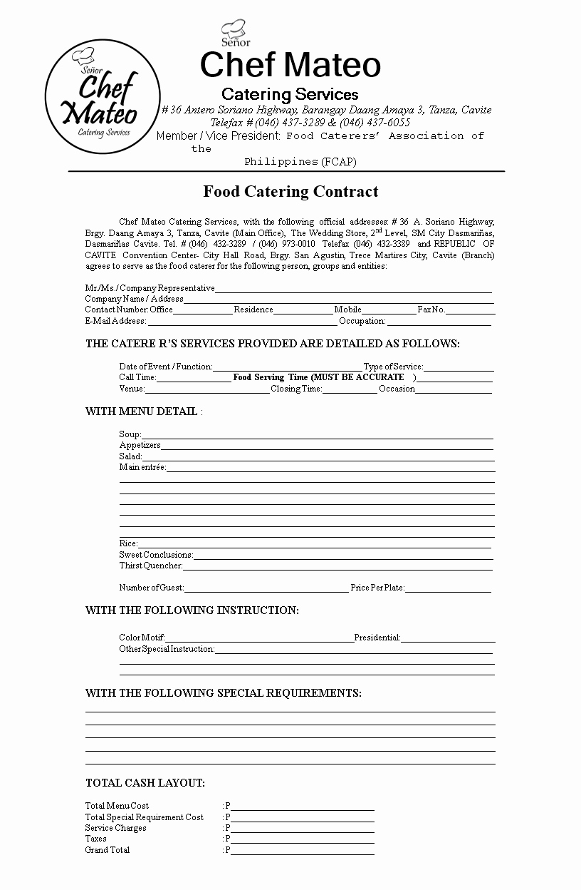 Free Catering Contract Template Fresh Free Food Catering Contract