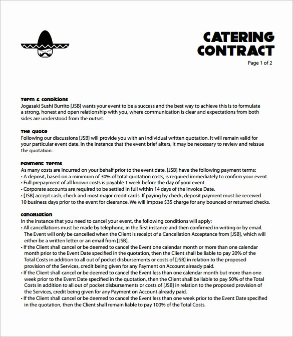 Free Catering Contract Template Inspirational Catering Contract Agreement Sample Templates Resume