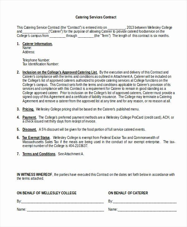 Free Catering Contract Template Unique 20 Catering Contract Worksheet – Diocesisdemonteria
