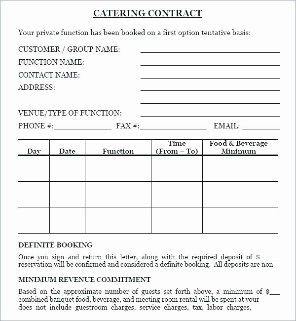 Free Catering Contract Template Unique Free Banquet event order form Template Standard Catering