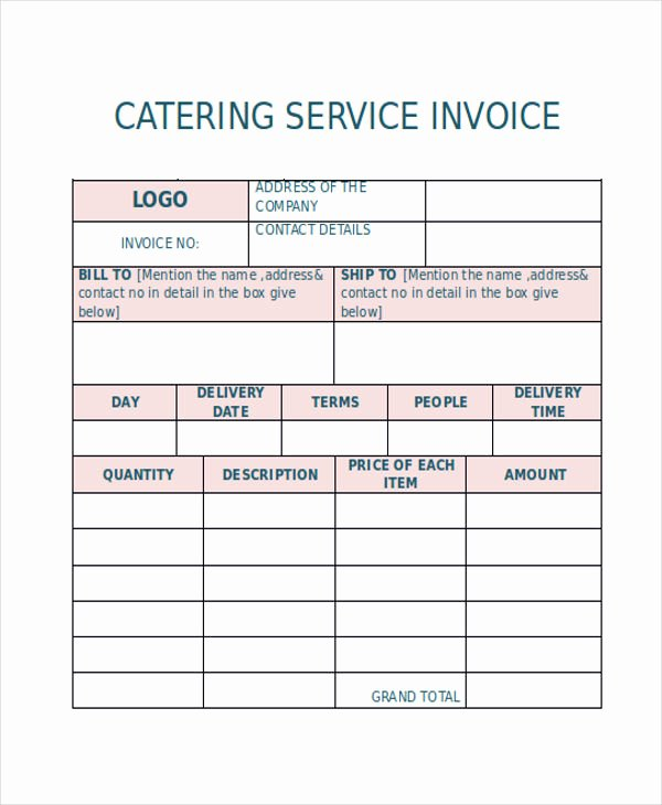 Free Catering Invoice Template Awesome Catering Invoice Templates 8 Free Word Pdf format