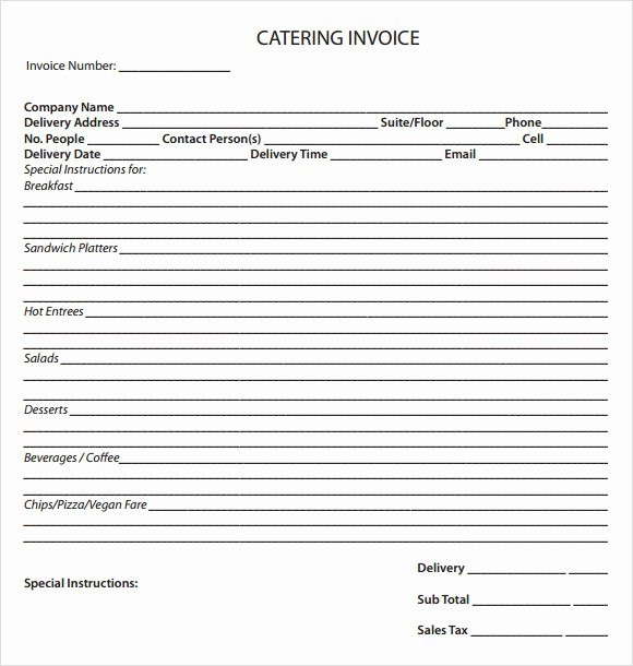 Free Catering Invoice Template Fresh 11 Catering Invoice Templates – Free Samples Examples