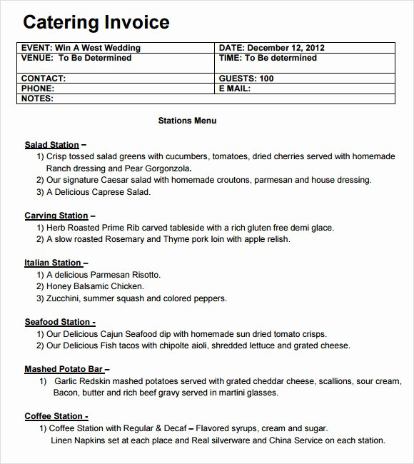 Free Catering Invoice Template Fresh Catering Invoice Template 10 Free Samples Examples format