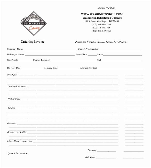 Free Catering Invoice Template Fresh Invoice format Template 50 Free Word Pdf Documents