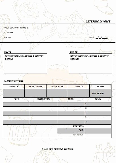 Free Catering Invoice Template Inspirational 28 Catering Invoice Templates Free Download Demplates