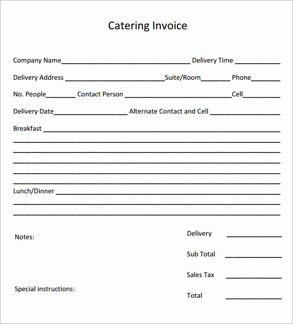Free Catering Invoice Template Lovely Catering Invoice Sample 17 Documents In Pdf Word