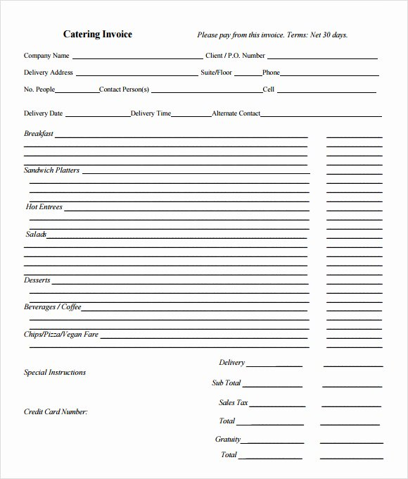 Free Catering Invoice Template Luxury 11 Catering Invoice Templates – Free Samples Examples
