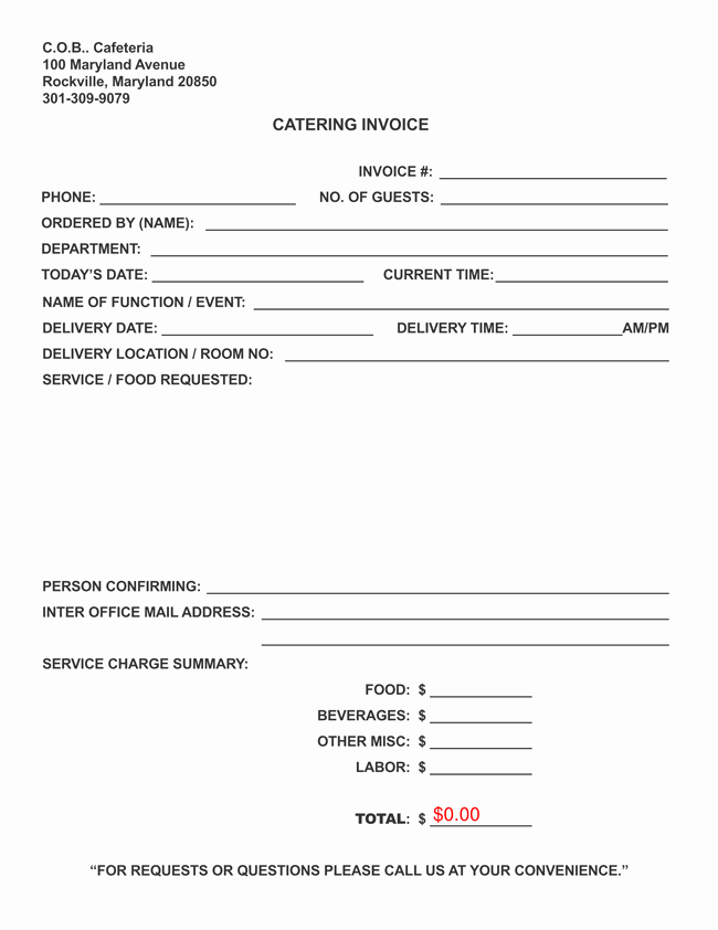 Free Catering Invoice Template New Catering Invoice Templates 10 Different formats In Pdf