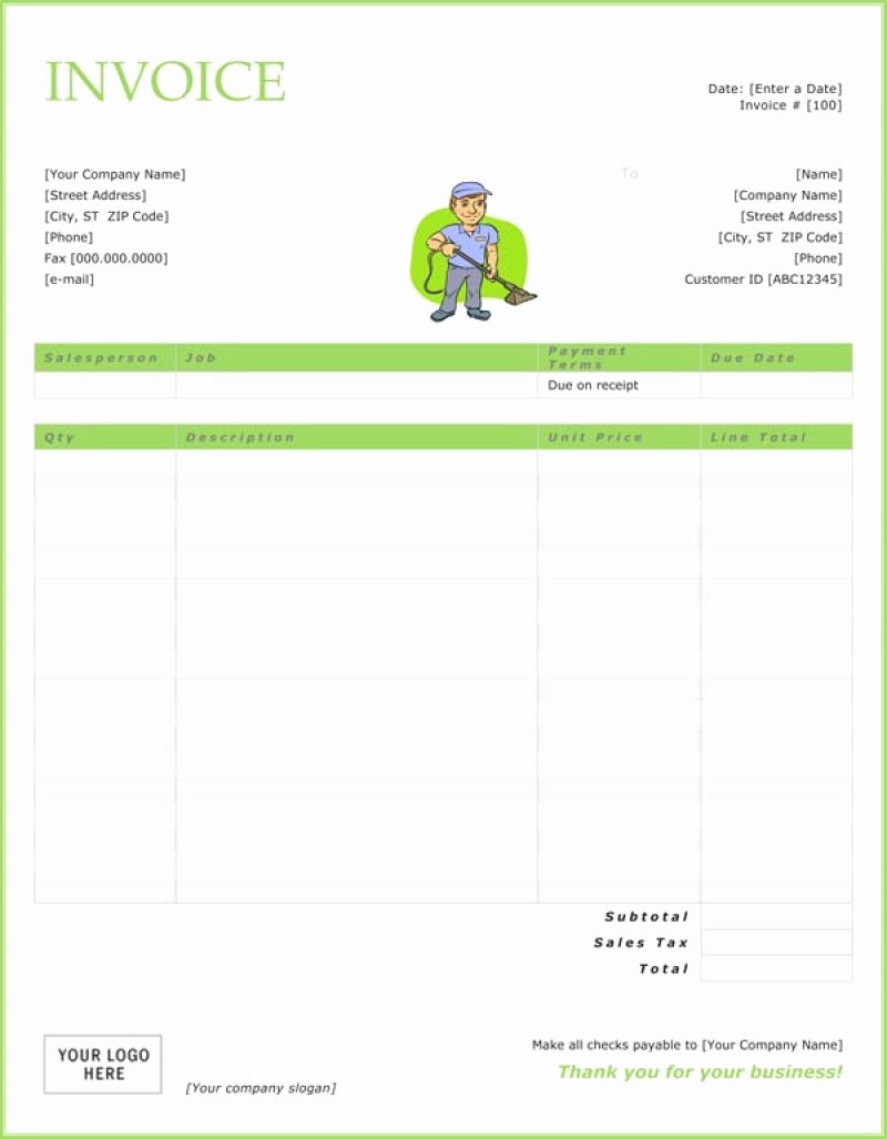 Free Cleaning Invoice Template Fresh Cleaning Invoice Template Invoice Template Ideas