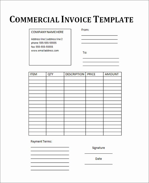 Free Commercial Invoice Template Best Of 18 Free Mercial Invoice Templates