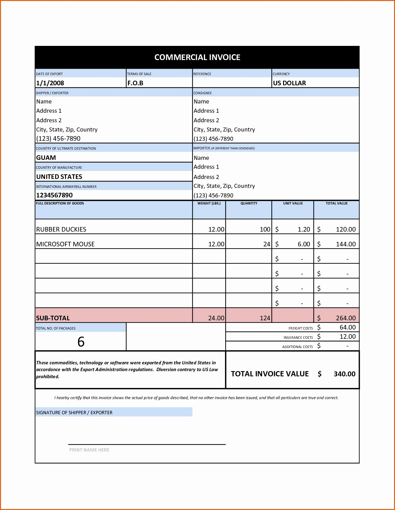 Free Commercial Invoice Template Inspirational Mercial Invoice Sample Excel Invoice Template Ideas