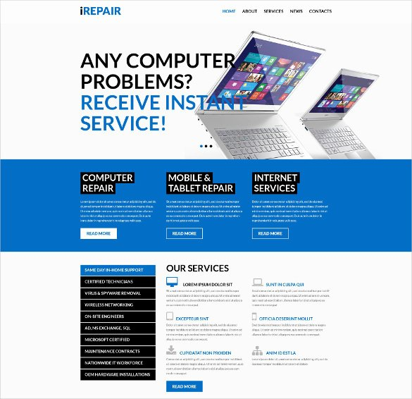 Free Computer Repair Website Template Elegant 28 Puter Repair Website themes & Templates