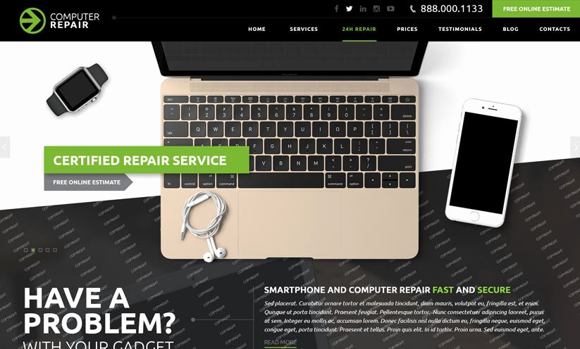 Free Computer Repair Website Template Elegant Puter Repair Bootstrap Template Id From