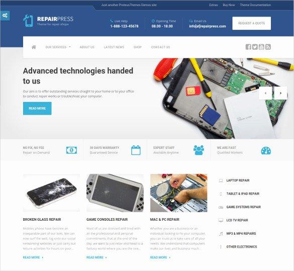 Free Computer Repair Website Template Fresh 28 Puter Repair Website themes & Templates