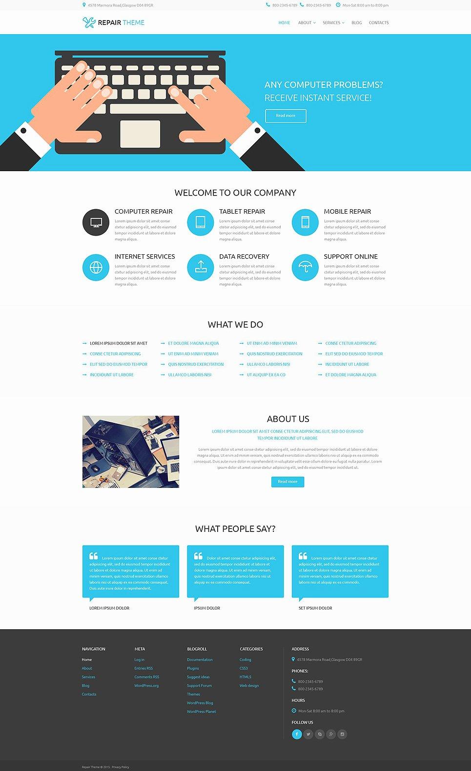 Free Computer Repair Website Template Luxury Puter Repair Wordpress theme