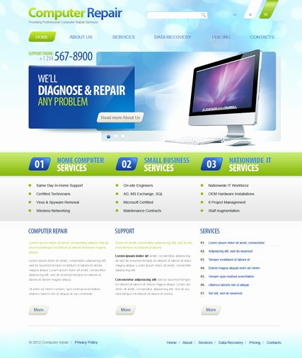 Free Computer Repair Website Template New Template Gallery Page 3
