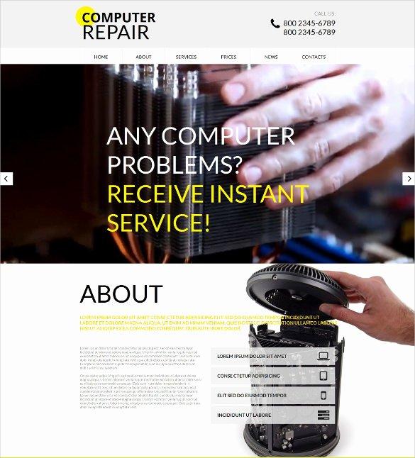 Free Computer Repair Website Template Unique 25 Puter Repair Website themes & Templates