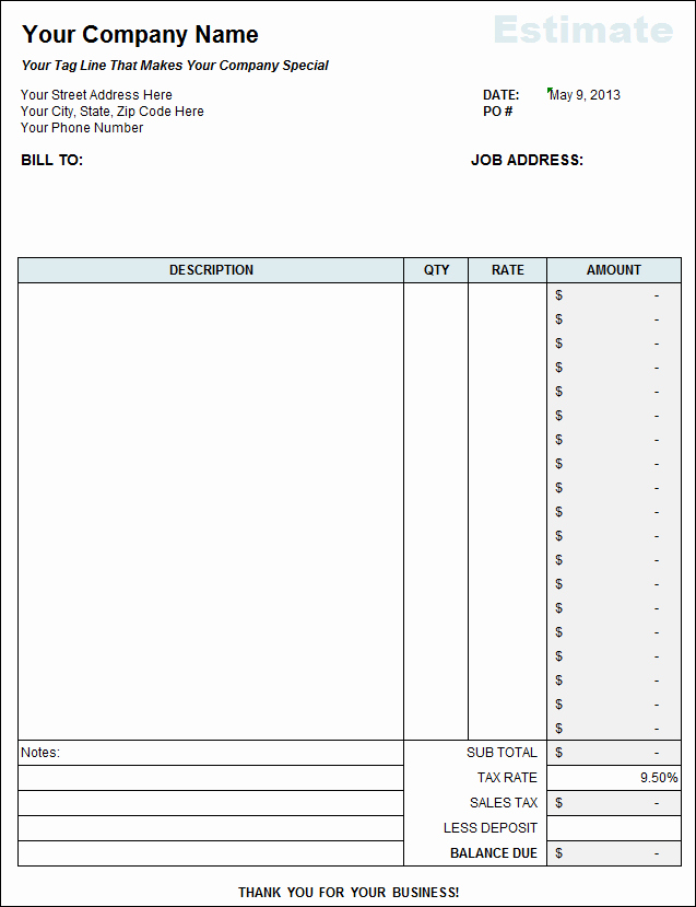 Free Construction Bid Template Awesome Free Contractor Estimate Template On Excel