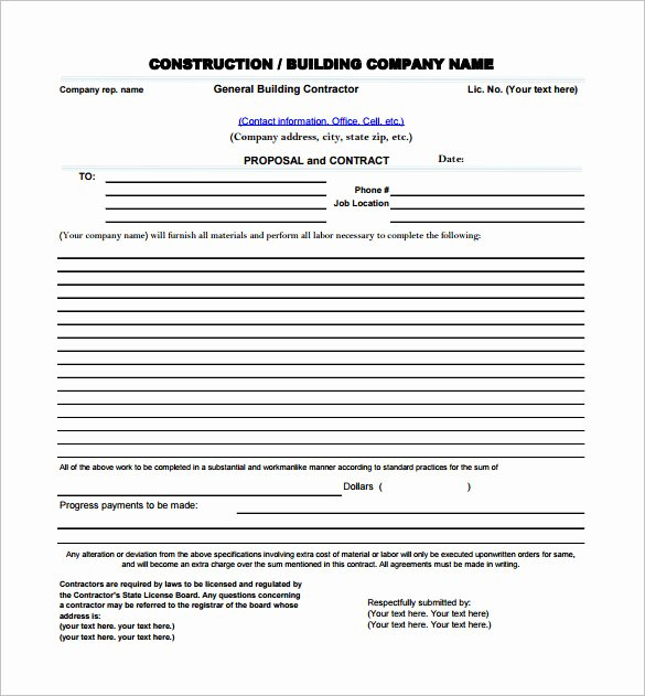 Free Construction Bid Template New Construction Proposal Templates 17 Free Word Pdf