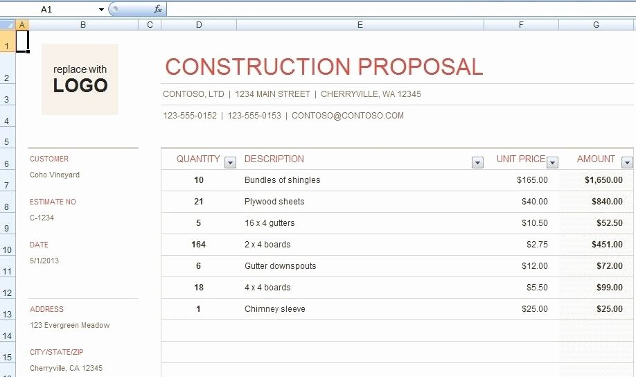 Free Construction Bid Template New Download Free Construction Bid Proposal Template