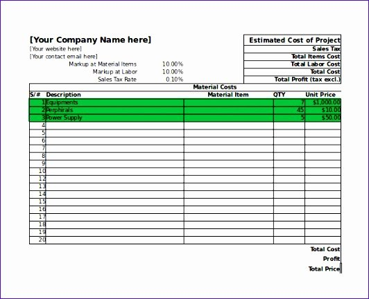Free Construction Estimate Template Excel Beautiful 6 Excel Job Costing Template Exceltemplates Exceltemplates