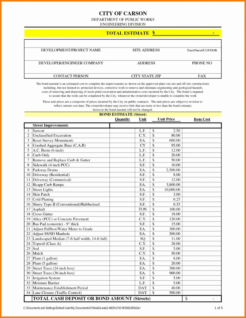 Free Construction Estimate Template Excel Elegant Construction Estimate Template Estimating Excel