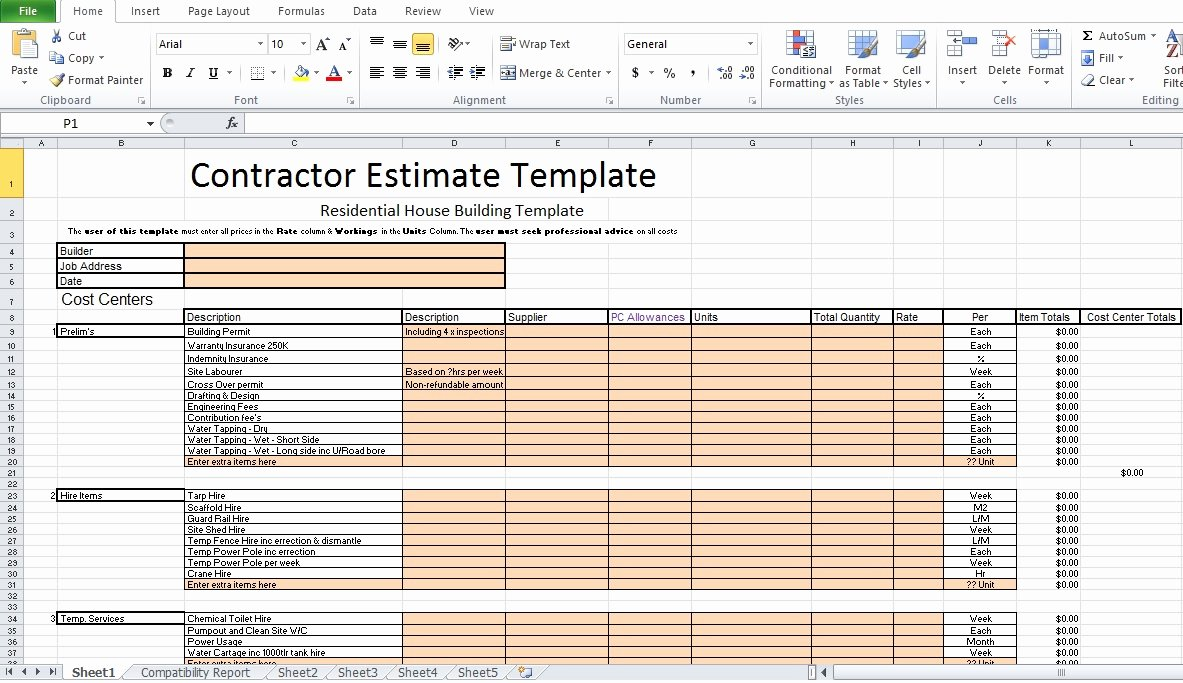 Free Construction Estimate Template Excel Fresh Free Contractor Estimate Template Excel Excel Tmp