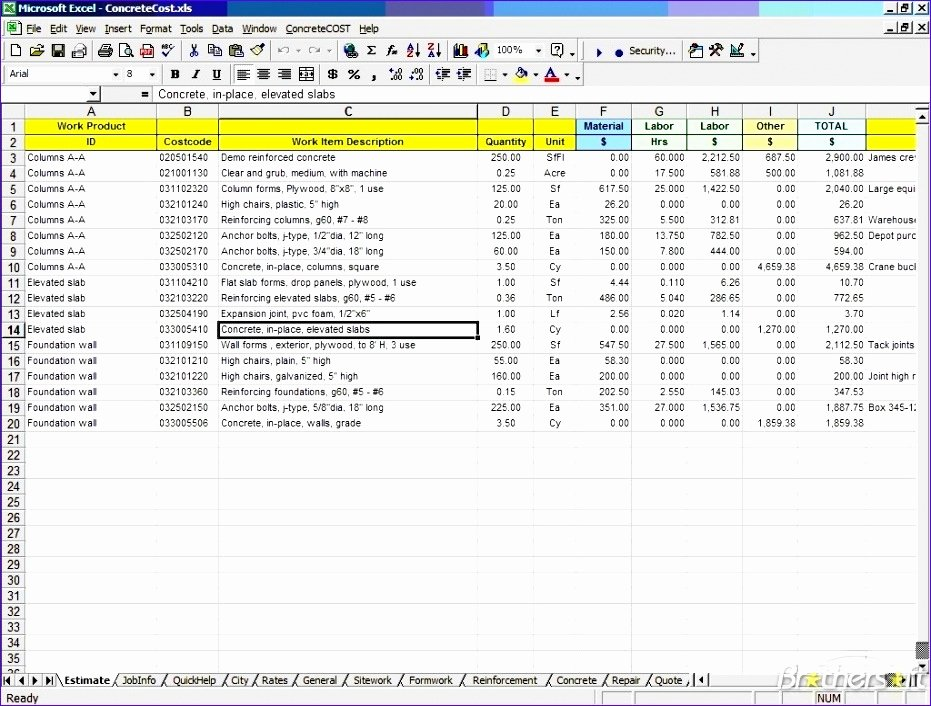 Free Construction Estimate Template Excel Lovely 11 Free Construction Cost Estimate Excel Template
