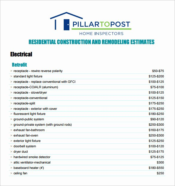 Free Construction Estimate Template Lovely 6 Contractor Estimate Templates Pdf Doc