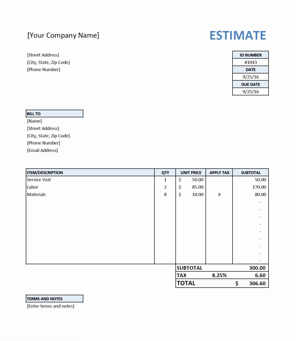 Free Construction Estimate Template New Free Estimate Template for Contractors