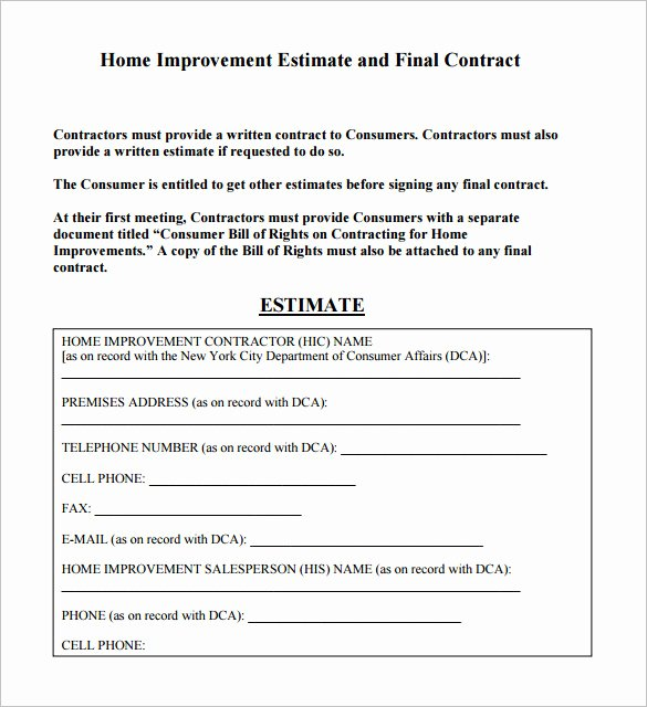 Free Construction Estimate Template Unique 6 Contractor Estimate Templates Pdf Doc