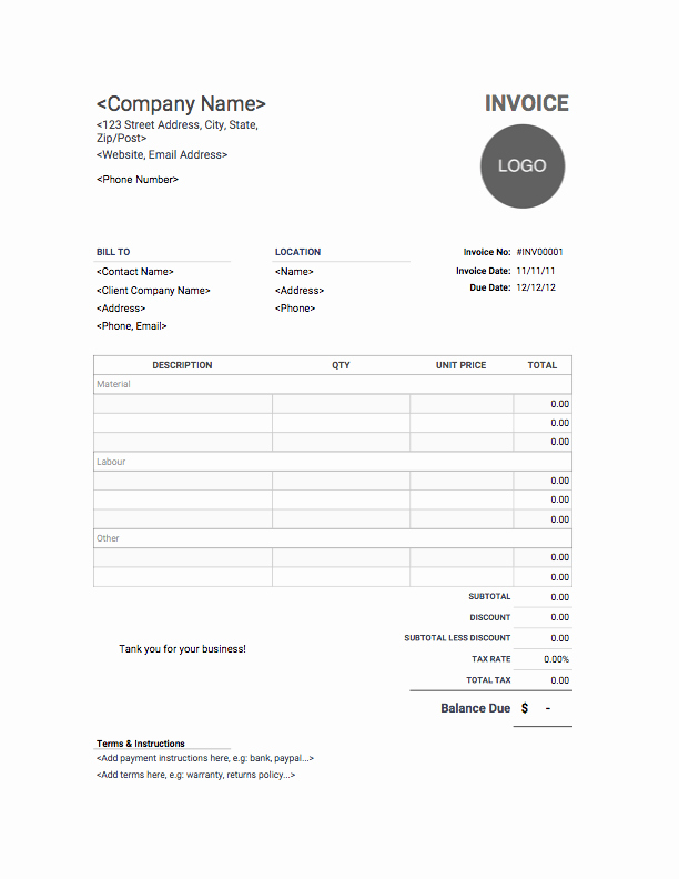 Free Construction Invoice Template Beautiful Contractor Invoice Template