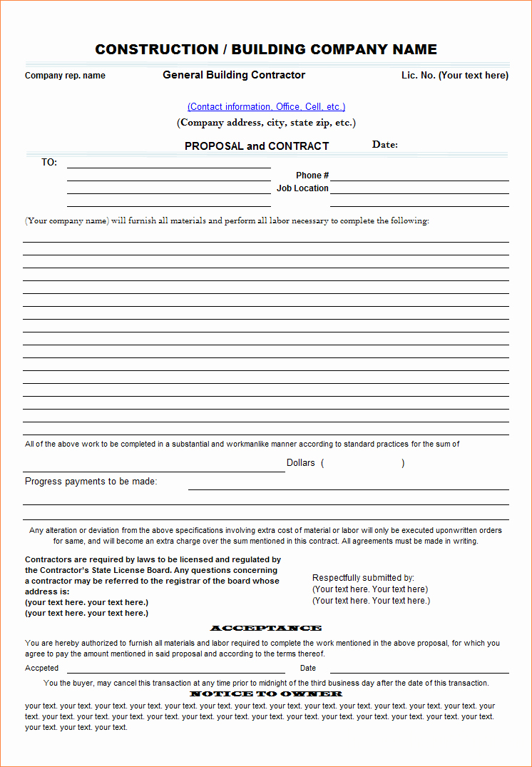 Free Construction Proposal Template Pdf Lovely 7 Contract Proposal Template