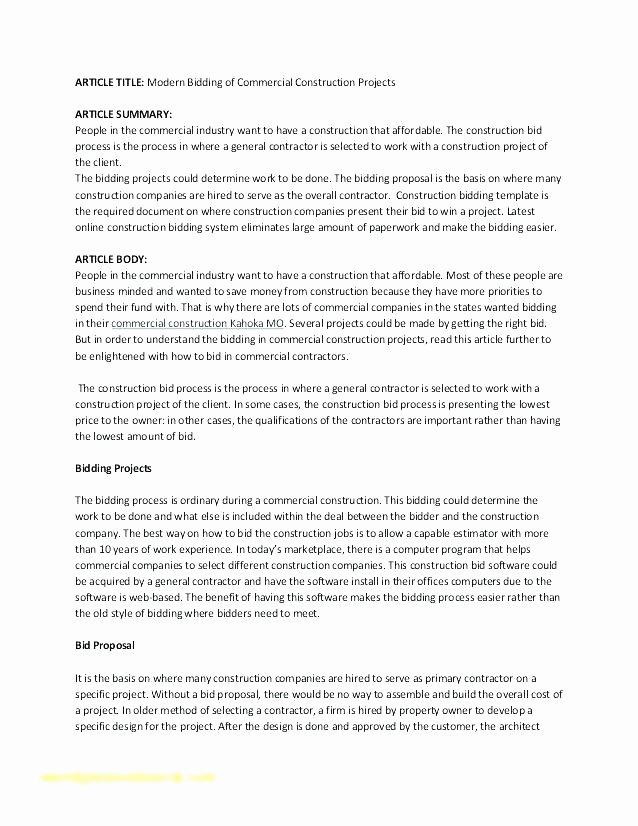 Free Construction Proposal Template Pdf Unique Bid Proposal Example How to Write A Bid Proposal Bid