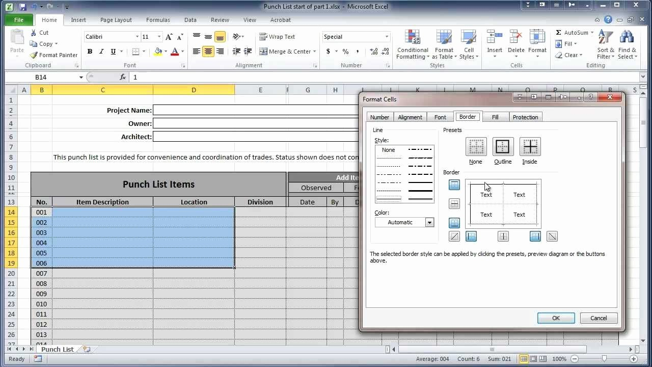 Free Construction Punch List Template Awesome Excel 2010 Construction Punch List Part I Create Table