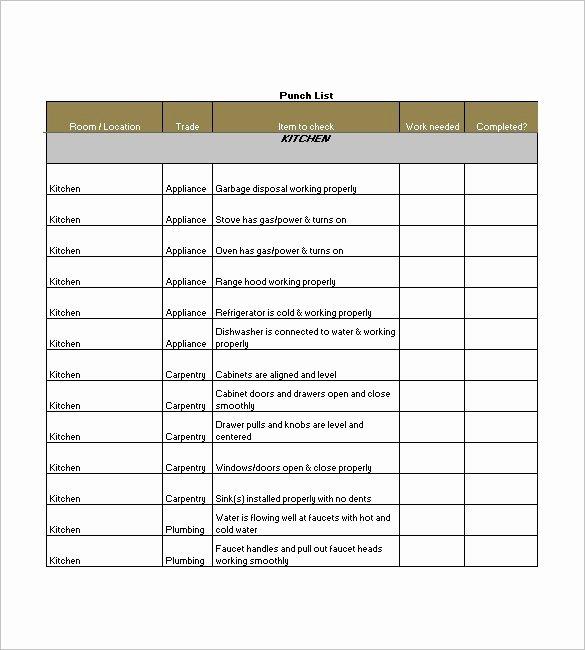 Free Construction Punch List Template Elegant 15 Free Construction Punch List Templates Ms Fice