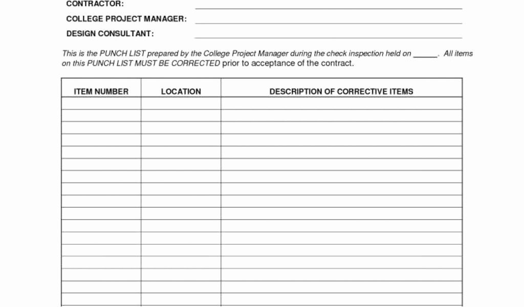 Free Construction Punch List Template Inspirational Construction Punch List Template Picture Construction