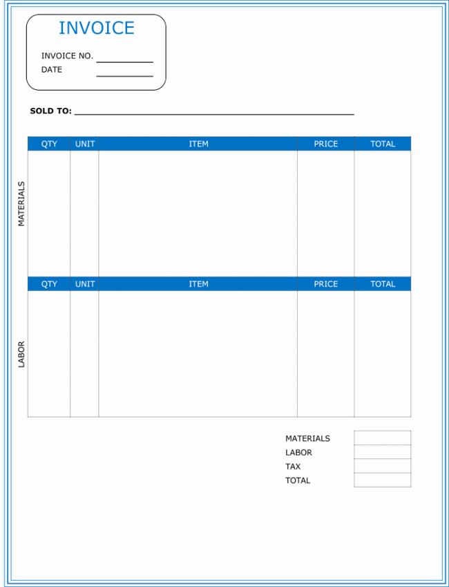 Free Contractor Invoice Template Elegant Contractor Invoice Template 6 Printable Contractor Invoices