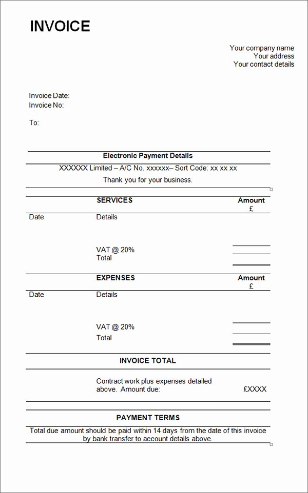 Free Contractor Invoice Template Lovely 15 Contractor Invoice Templates