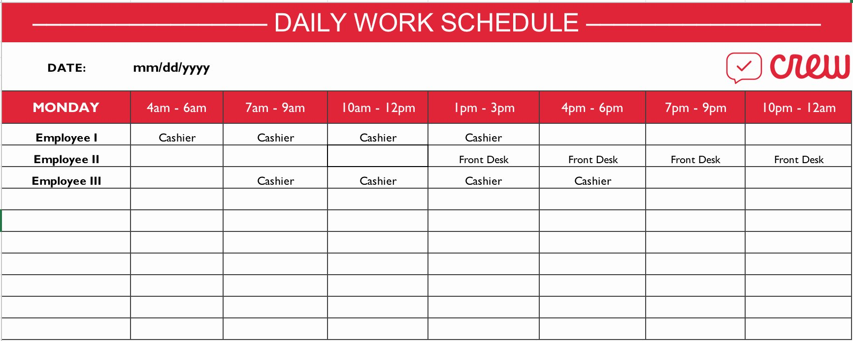 Free Daily Schedule Template Fresh Employee Schedule Templates Example Of Spreadshee Employee