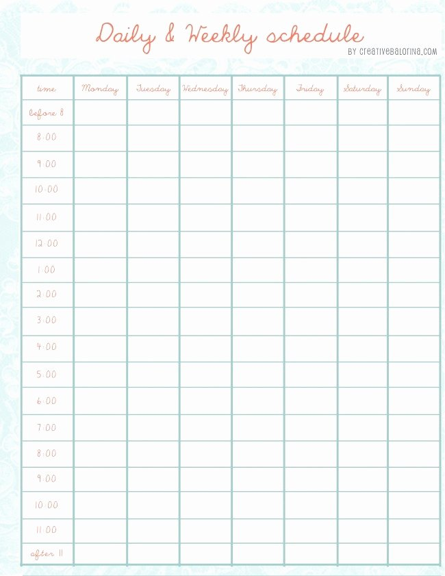Free Daily Schedule Template Lovely Daily Weekly Schedule Template Printables