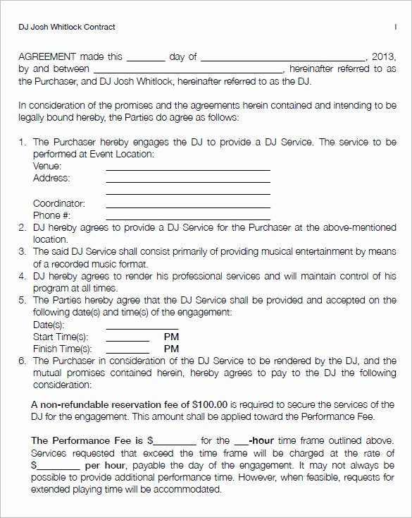 Free Dj Contract Template Awesome 14 Dj Contract Templates Pdf Google Docs Apple Pages