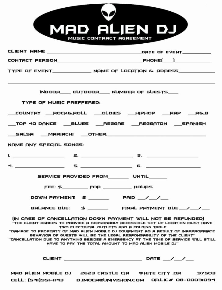 Free Dj Contract Template Beautiful Template Dj Contract Template